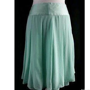 Banana Republic Mint Pleated 100% Silk Skirt